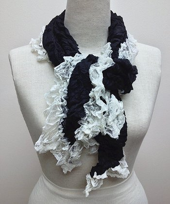 Black & White Lace Wool-Blend Scarf