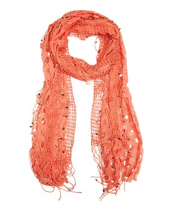Coral Textured Sequin Scarf