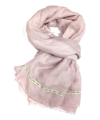 Blush Floral Trim Scarf