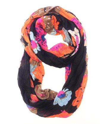 Orange & Black Floral Infinity Scarf