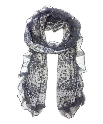 Gray Abstract Pearl Scarf
