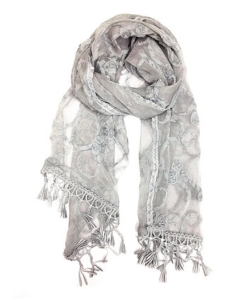 Gray Embroidered Fringe Scarf