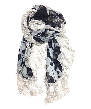 Black & Gray Abstract Scarf
