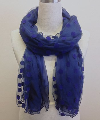 Navy Semi-Sheer Dot Scarf