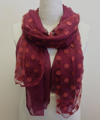 Wine Semi-Sheer Dot Scarf