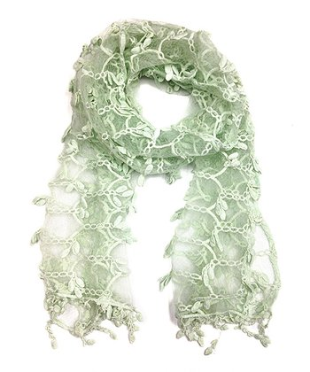 Mint Green Semi-Sheer Lace Scarf
