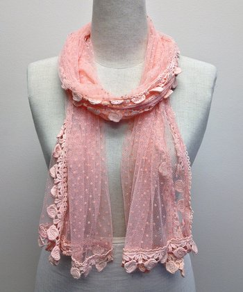 Pink Semi-Sheer Pin Dot Scarf