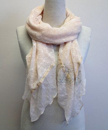 Peach Crystal Textured Scarf