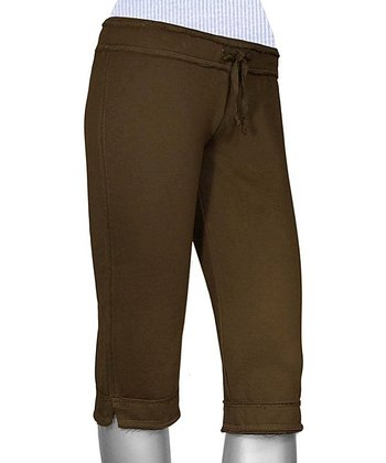 Brown Raw Edge Capri Yoga Pants - Women