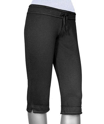 Black Raw Edge Capri Yoga Pants - Women