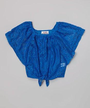 Blue Crochet Tie Poncho & Tank