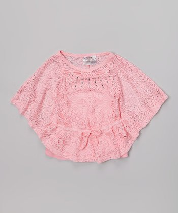 Pink Lace Crocheted Poncho & Tank