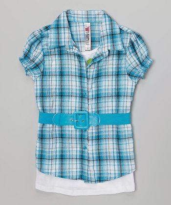 Turquoise Plaid Belted Tee