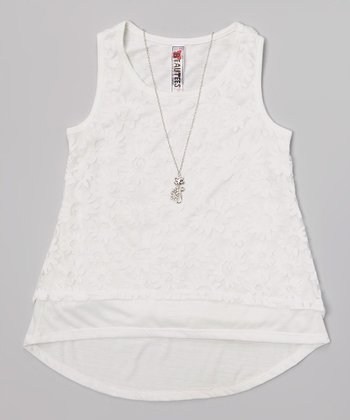 White Lace Tank & Necklace