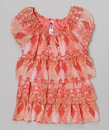 Coral Floral Tiered Top