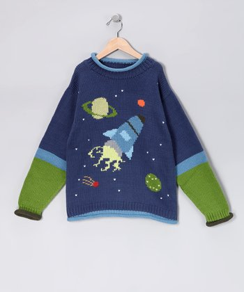 French Blue Outer Space Hand-Loomed Knit Sweater - Kids