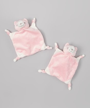 Pink Cat Cuddly Pal Lovey - Set of Two