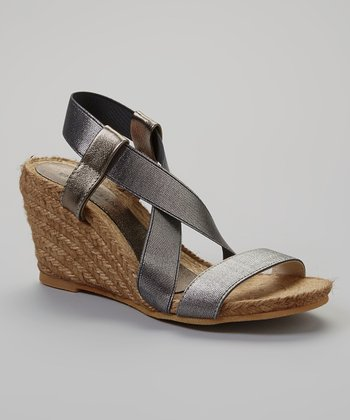 Silver Leather Elena Espadrille