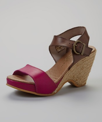 Fuchsia & Brown Leather Nemo Platform Sandal - Women