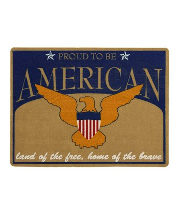Navy 'Proud to Be American' Doormat