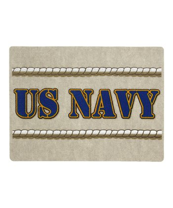 White 'US Navy' Doormat