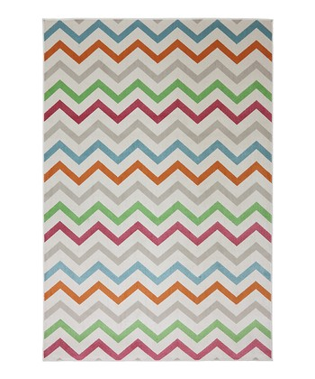 Cream Zigzag Indoor/Outdoor Rug