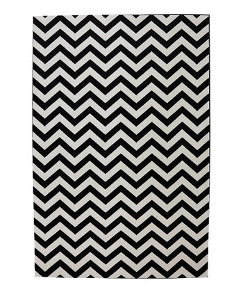 Black Zigzag Indoor/Outdoor Rug