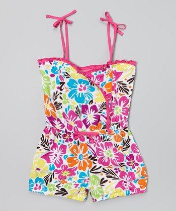 Pink Floral Mock-Wrap Tie Romper - Infant, Toddler & Girls