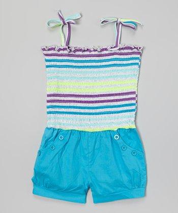 Blue Stripe Tie Romper - Toddler & Girls