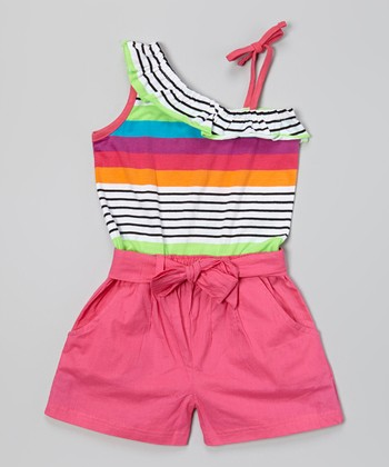Watermelon Stripe Tie Romper - Infant, Toddler & Girls