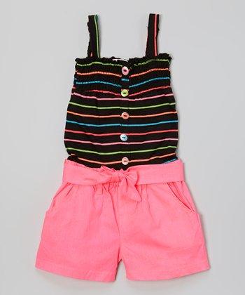 Black & Pink Stripe Romper - Girls