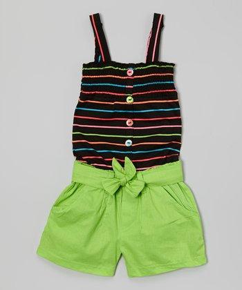 Black & Green Stripe Romper - Girls