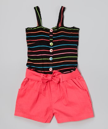 Black & Coral Stripe Romper - Girls