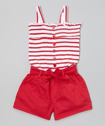 Red Stripe Romper - Infant & Toddler