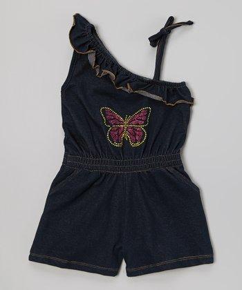 Denim Asymmetrical Tie Romper - Infant, Toddler & Girls