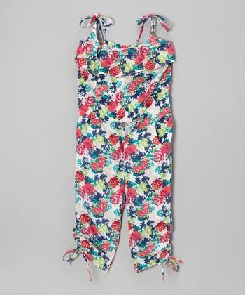White & Pink Floral Tie Romper - Toddler & Girls