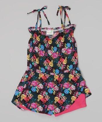 Black & Pink Floral Tie Romper - Toddler & Girls