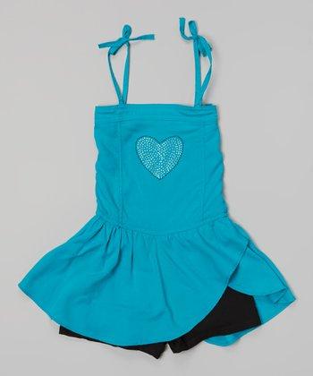 Jade Heart Tie Skirted Romper - Girls