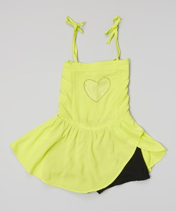 Yellow Heart Tie Skirted Romper - Girls