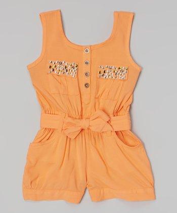 Orange Rhinestone Romper - Infant, Toddler & Girls
