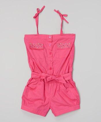Pink Rhinestone Pocket Tie Romper - Infant, Toddler & Girls