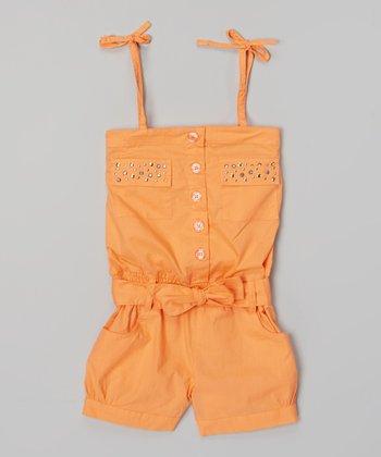 Orange Rhinestone Pocket Tie Romper - Infant, Toddler & Girls
