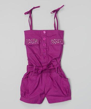 Violet Rhinestone Pocket Tie Romper - Infant, Toddler & Girls