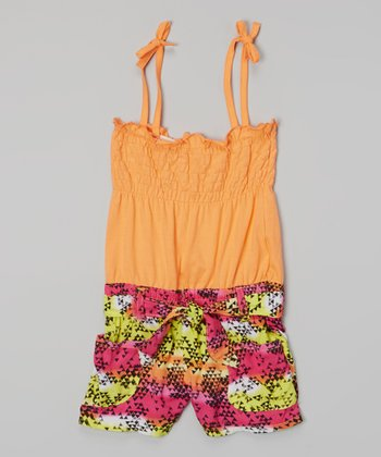 Orange Triangle Tie Romper - Girls