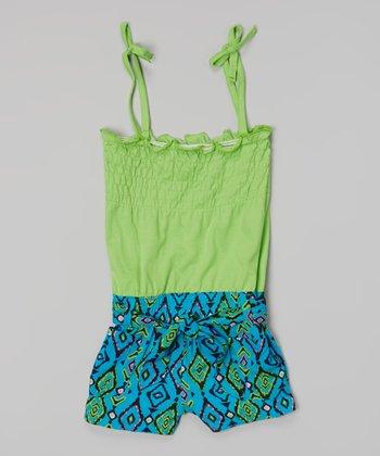 Lime Green Diamond Tie Romper - Girls
