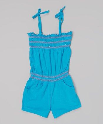Blue Zigzag Shirred Tie Romper - Toddler & Girls