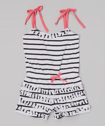 White Stripe Ruffle Tie Romper - Infant, Toddler & Girls