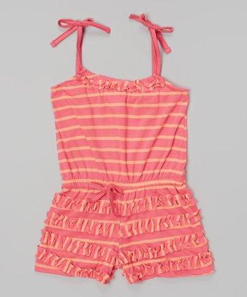 Fuchsia Stripe Ruffle Tie Romper - Infant, Toddler & Girls