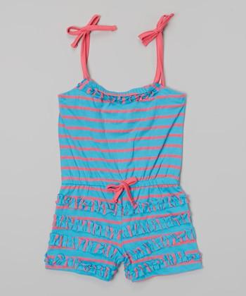 Cyan Stripe Ruffle Tie Romper - Infant, Toddler & Girls