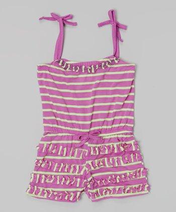 Purple Stripe Ruffle Tie Romper - Infant, Toddler & Girls
